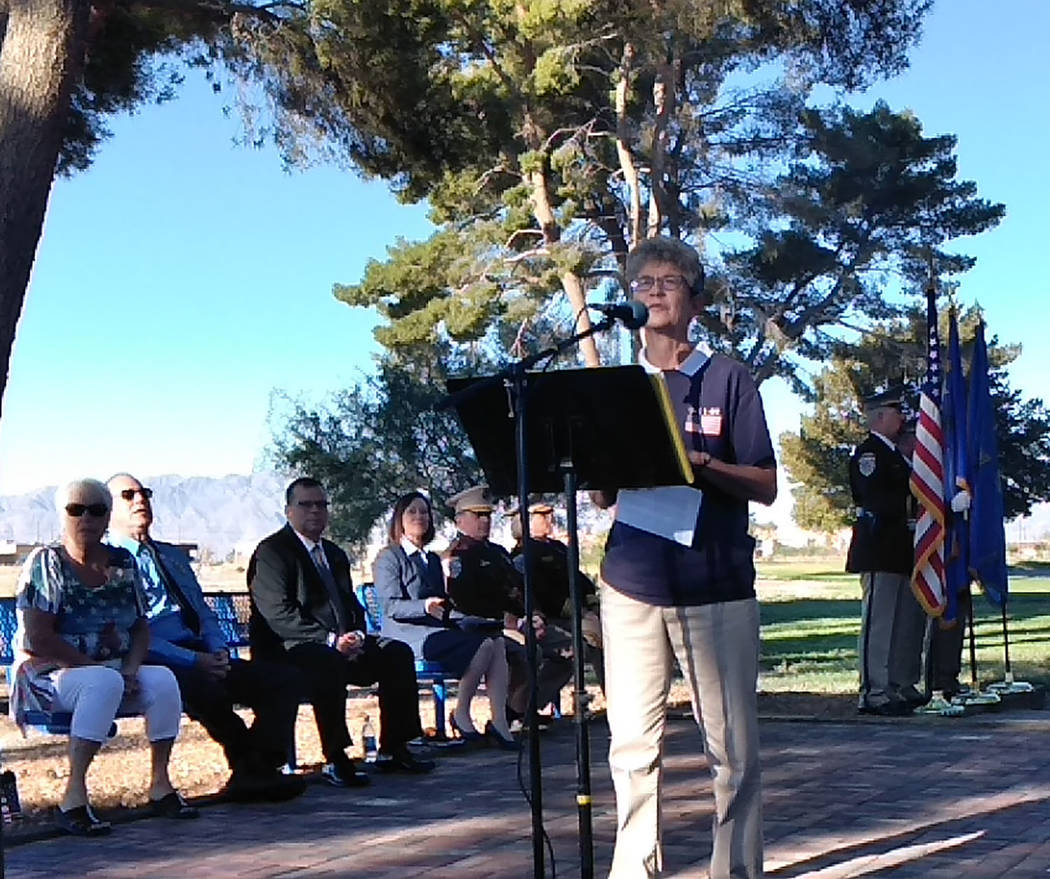Selwyn Harris/Pahrump Valley Times Nye County Fifth Judicial District Court Judge Kim Wanker was one several area officials who provided remarks during Tuesday's 9/11 remembrance ceremony at the C ...