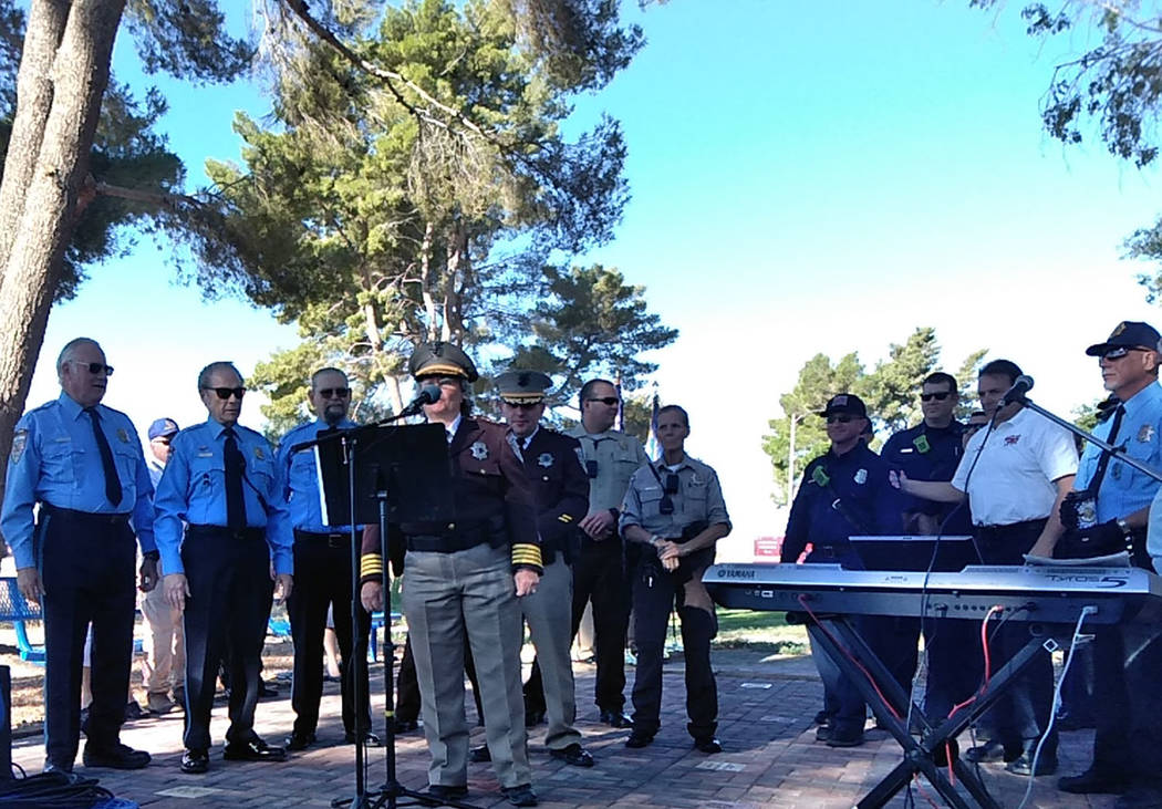 Selwyn Harris/Pahrump Valley Times Nye County Sheriff Sharon Wehrly speaks about her recollections of the 9/11 terrorist attack 17 years ago. As a public official, Wehrly was joined by members of ...