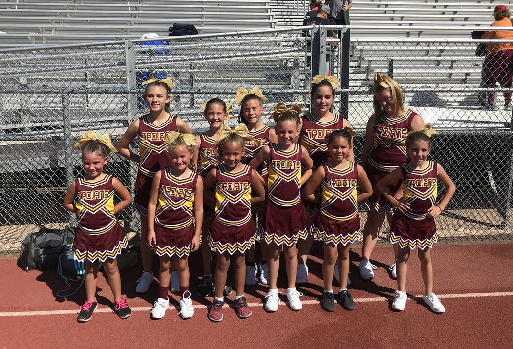 Johnny O'Neal/Special to the Pahrump Valley Times Junior Trojan cheerleaders have their game faces on Sept. 8 in Las Vegas.