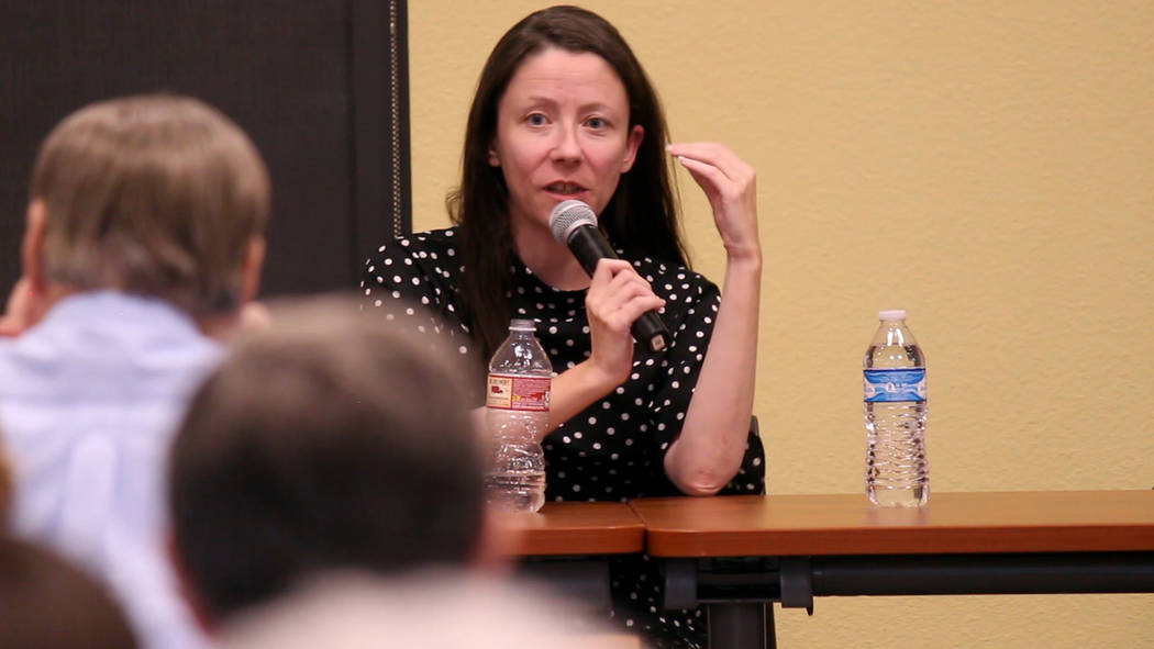 Jeffrey Meehan/Pahrump Valley Times Meredith Levine, director of economic policy for the Kenny Guinn Center for Policy Priorities, speaks at a forum surrounding Question 3 at Valley Electric Assoc ...