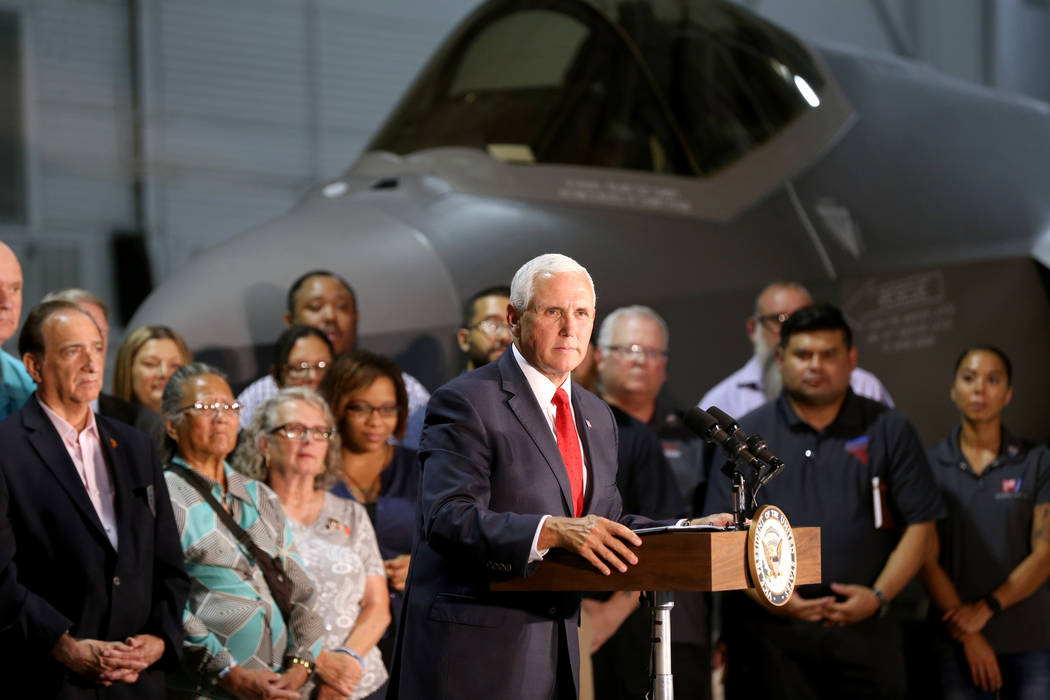 Vice President Mike Pence speaks with airmen and veterans in the Thunderbirds hangar at Nellis Air Force Base in Las Vegas Friday, Sept. 7, 2018. K.M. Cannon Las Vegas Review-Journal @KMCannonPhoto