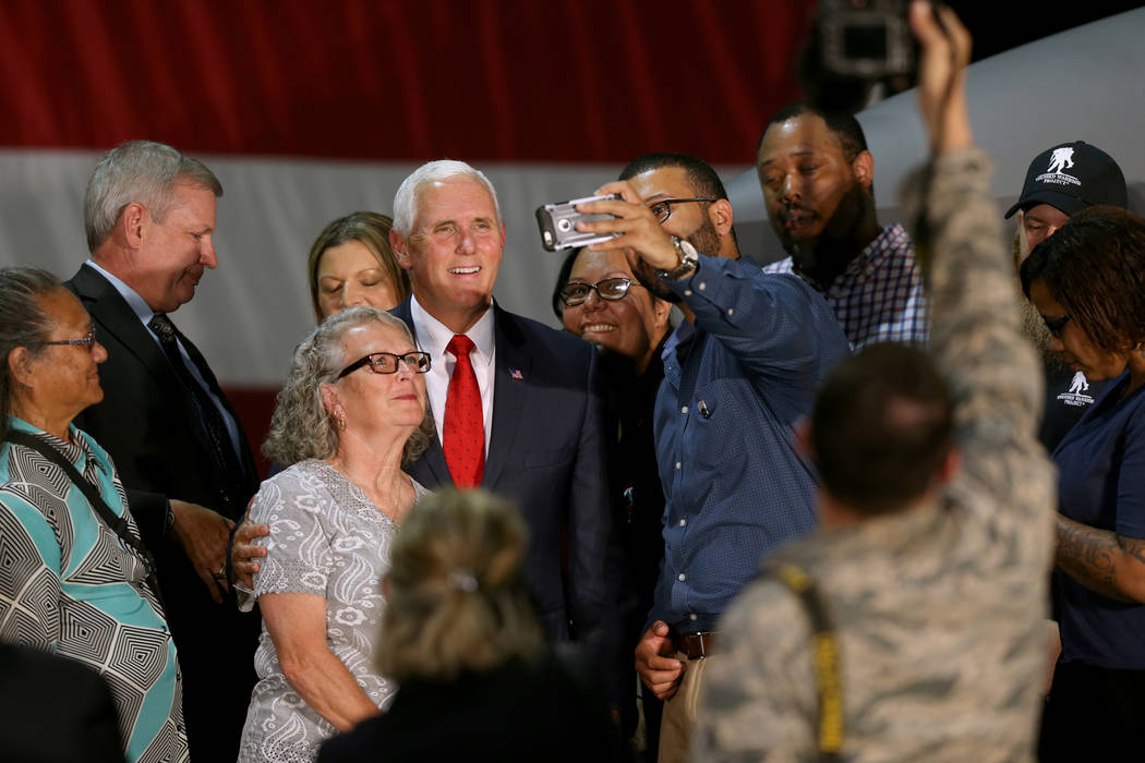 Vice President Mike Pence meets with veterans in the Thunderbirds hangar at Nellis Air Force Base in Las Vegas Friday, Sept. 7, 2018. K.M. Cannon Las Vegas Review-Journal @KMCannonPhoto