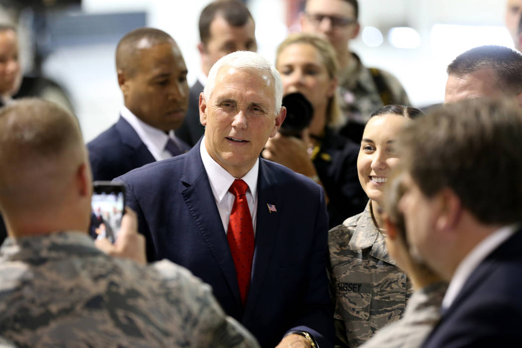 Vice President Mike Pence meets with airmen in the Thunderbirds hangar at Nellis Air Force Base in Las Vegas Friday, Sept. 7, 2018. K.M. Cannon Las Vegas Review-Journal @KMCannonPhoto