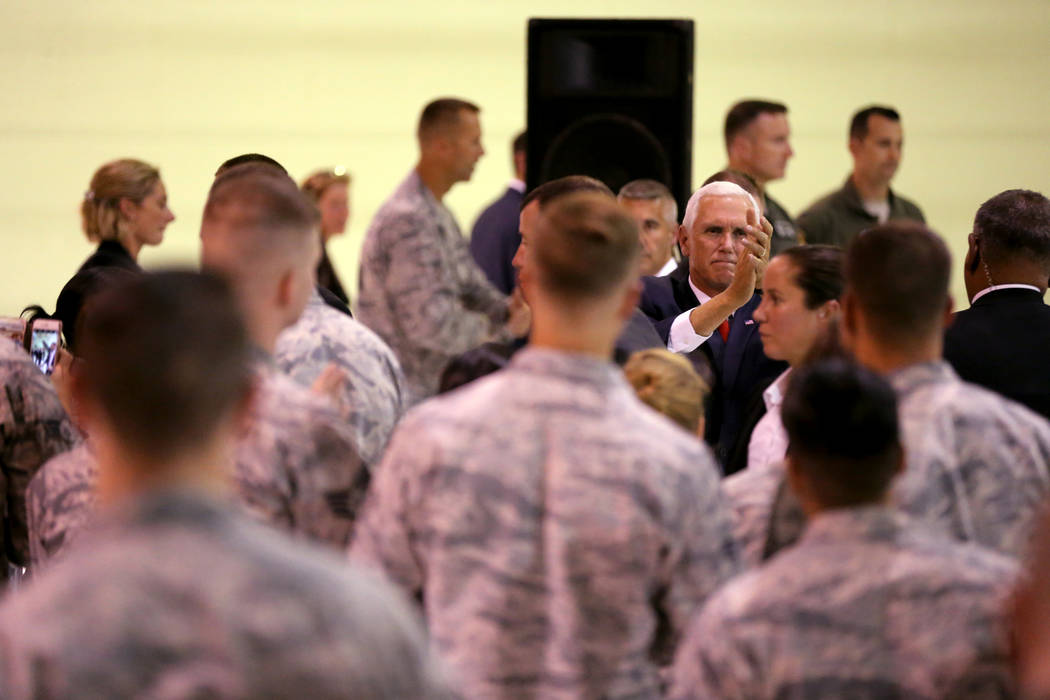 Vice President Mike Pence thanks airmen in the Thunderbirds hangar at Nellis Air Force Base in Las Vegas Friday, Sept. 7, 2018. K.M. Cannon Las Vegas Review-Journal @KMCannonPhoto