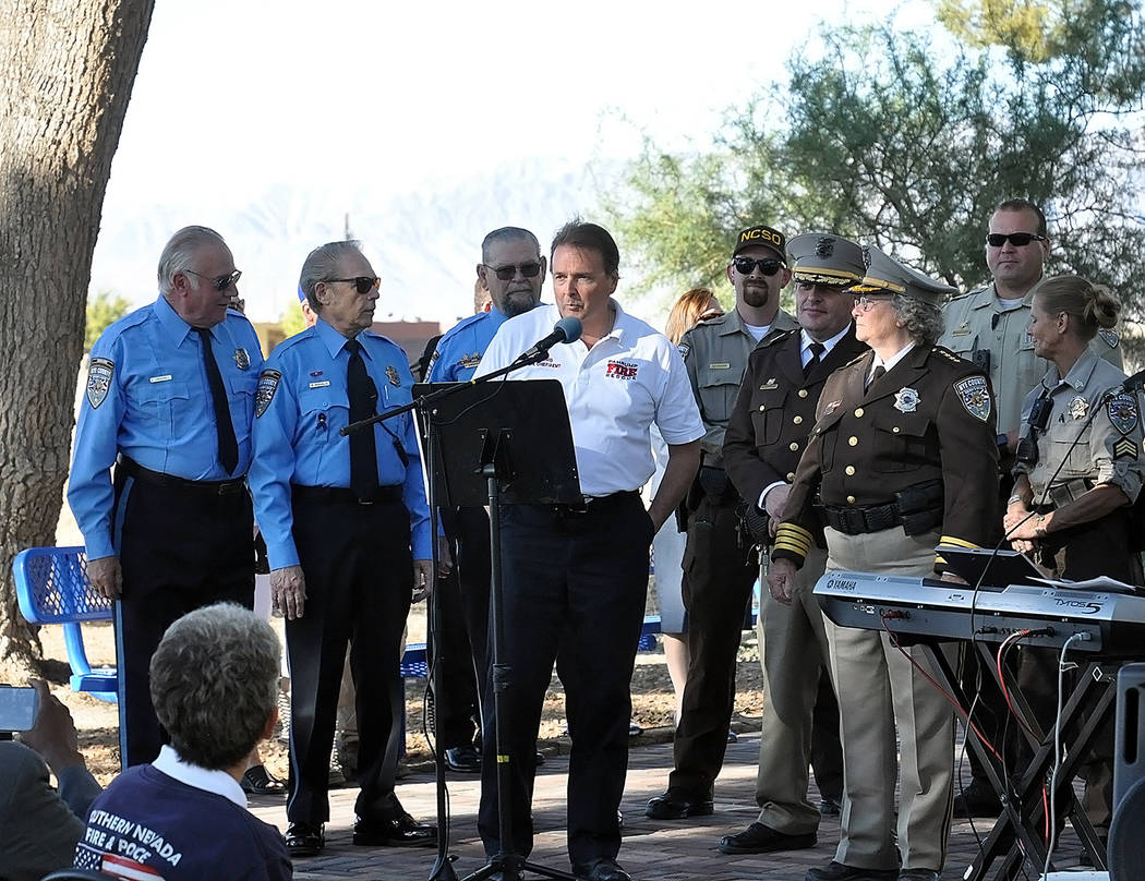 Horace Langford Jr./Pahrump Valley Times Pahrump Valley Fire and Rescue Services Chief Scott Lewis provides remarks during the 9/11 observance this week. Lewis and fire crews arrived with the dep ...
