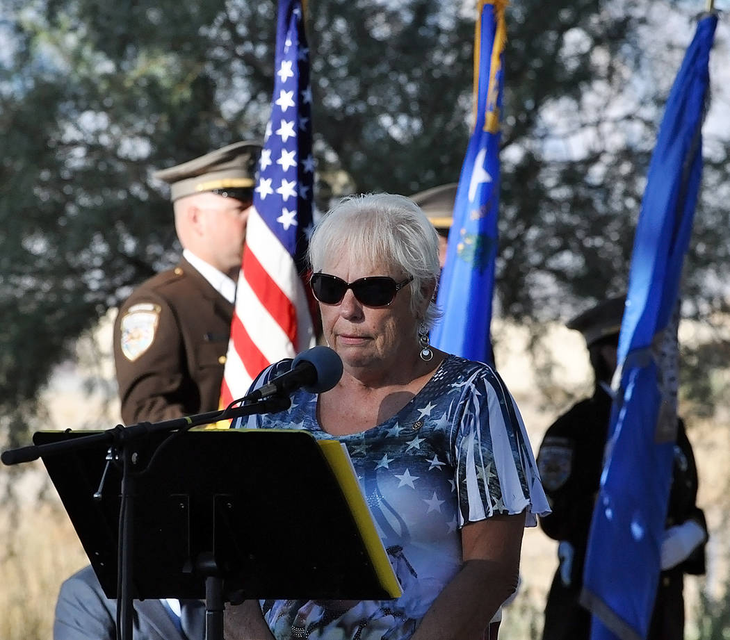 Horace Langford Jr./Pahrump Valley Times Pahrump Valley Rotary Club President Barbara Thompson emceed Tuesday's 9/11 remembrance ceremony at the Calvada Eye. Thompson invited a half dozen speaker ...