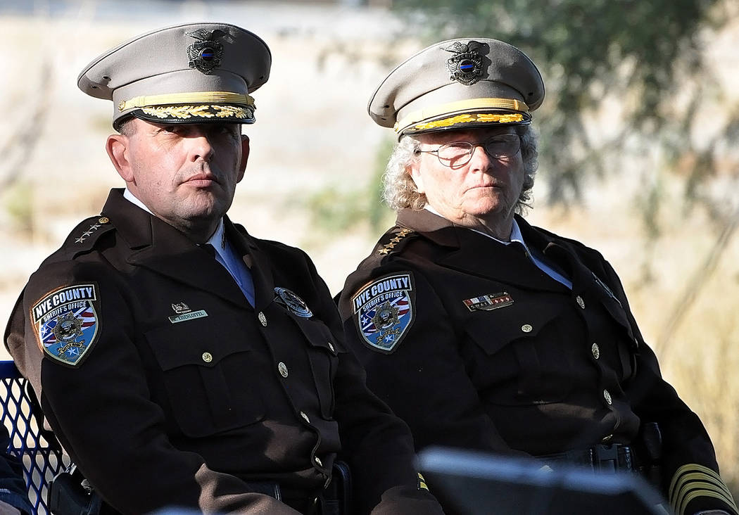 Horace Langford Jr./Pahrump Valley Times Nye County Sheriff Sharon Wehrly, right, sits alongside Undersheriff Michael Eisenloffel in the Reflection Area of the Calvada Eye. During her remarks, We ...