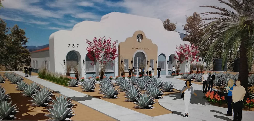 Special to the Pahrump Valley Times An artist rendering shows what the planned addition for Our Lady of the Valley Catholic Church project will look like. The new building will be called Regina Ca ...