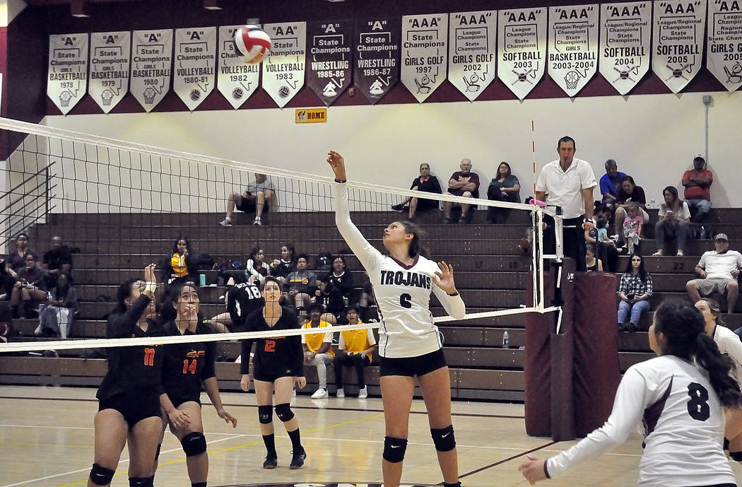 Horace Langford Jr./Pahrump Valley Times Pahrump Valley's Nicky Velazquez recorded six kills in a 3-1 win Thursday at home against Del Sol and seven more in a 3-2 win Friday at Mojave.