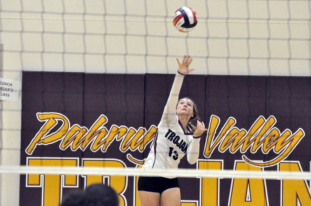 Horace Langford Jr./Pahrump Valley Times Pahrump Valley senior Jackie Stobbe tallied eight aces and seven assists in a 3-1 win over Del Sol and 19 assists in a 3-2 win over Mojave last week.