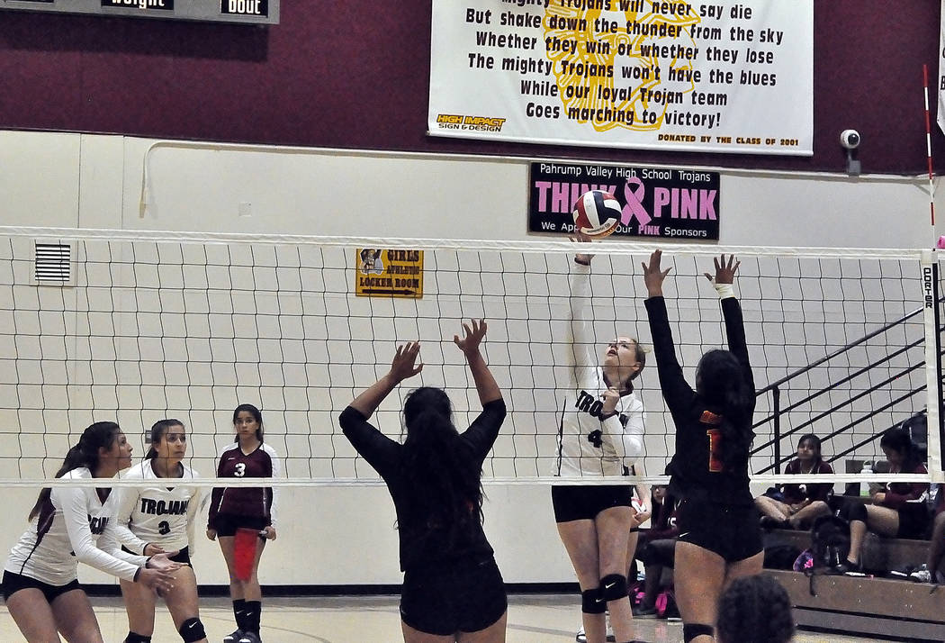 Horace Langford Jr./Pahrump Valley Times Ashley Hoyt goes up for a kill during Pahrump Valley's four-set victory over Del Sol on Thursday in Pahrump.