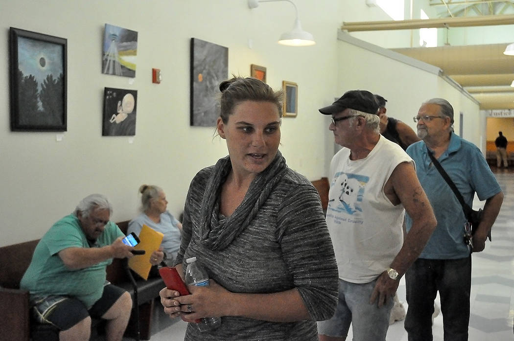 Horace Langford Jr./Pahrump Valley Times - Sept. 14, 2018, homeless resident Ashley Hanson waiting to speak with an Attorney at the Pahrump CourthousenFriday.