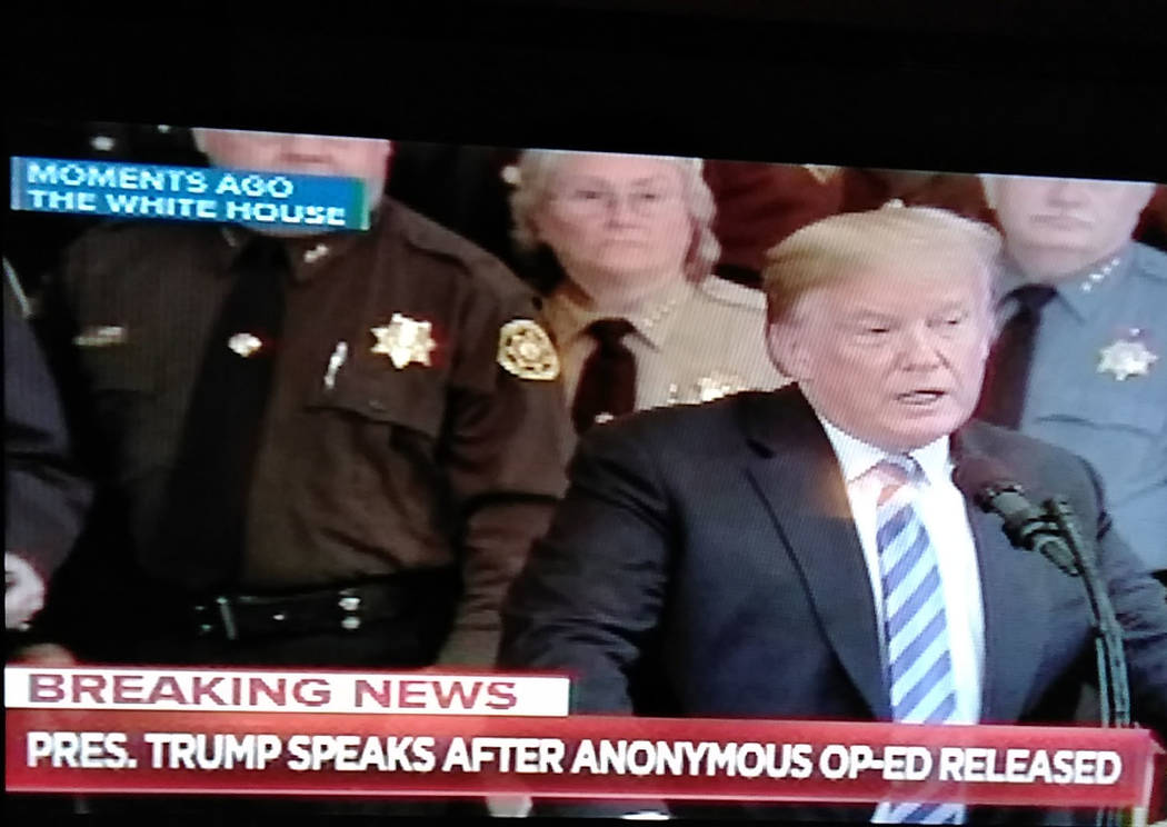 Screenshot of MSNBC coverage Nye County Sheriff Sharon Wehrly stands behind President Donald Trump. Wehrly was one of 44 sheriffs across the country who made a visit to Washington D.C., this month ...