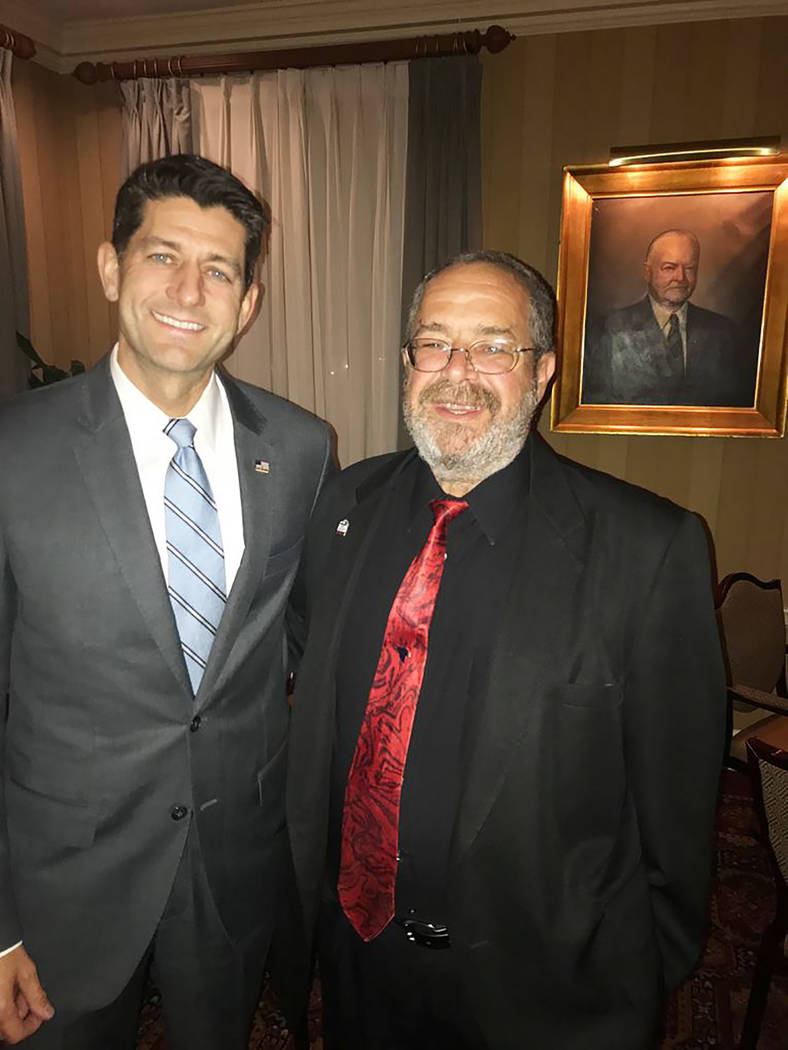 Photo via Nye County House Speaker Paul Ryan with Dan Schinhofen as shown in a photo Monday from Nye County government.