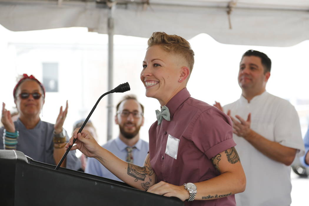 Sabin Orr/Special to the Pahrump Valley Times Rachel Wenman, co-founder and president at Urban Seed, at the groundbreaking for Urban Seed on Friday, July 29, 2016. Wenman led a tour in September o ...