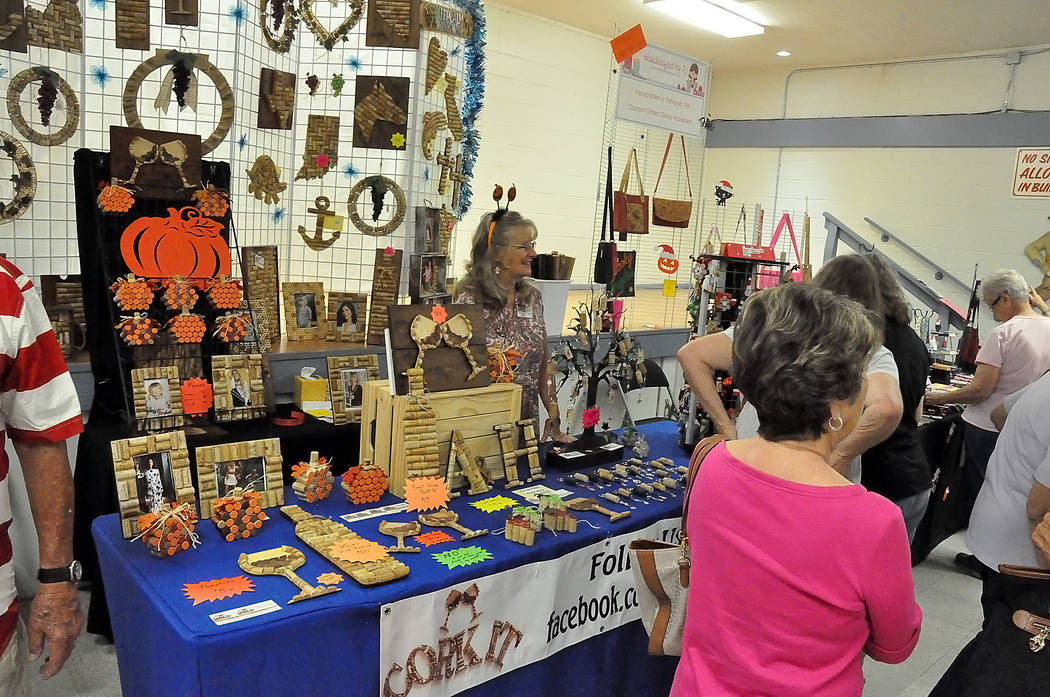 "Horace Langford Jr./ Special to the Pahrump Valley Times Local artisans display their wares at an arts and crafts show on Sept. 15, 2018. Pictured is a booth at the ""Spooky Jingles Art and Craft ..."