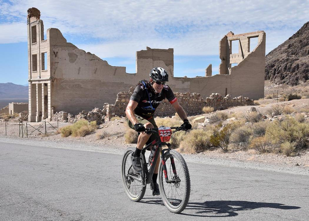 Richard Stephens/Special to the Pahrump Valley Times Robert Wenk, who won the 60-kilometer race, is the first to reach Rhyolite during Saturday's Barrick Tinker Classic, which began and ended in B ...