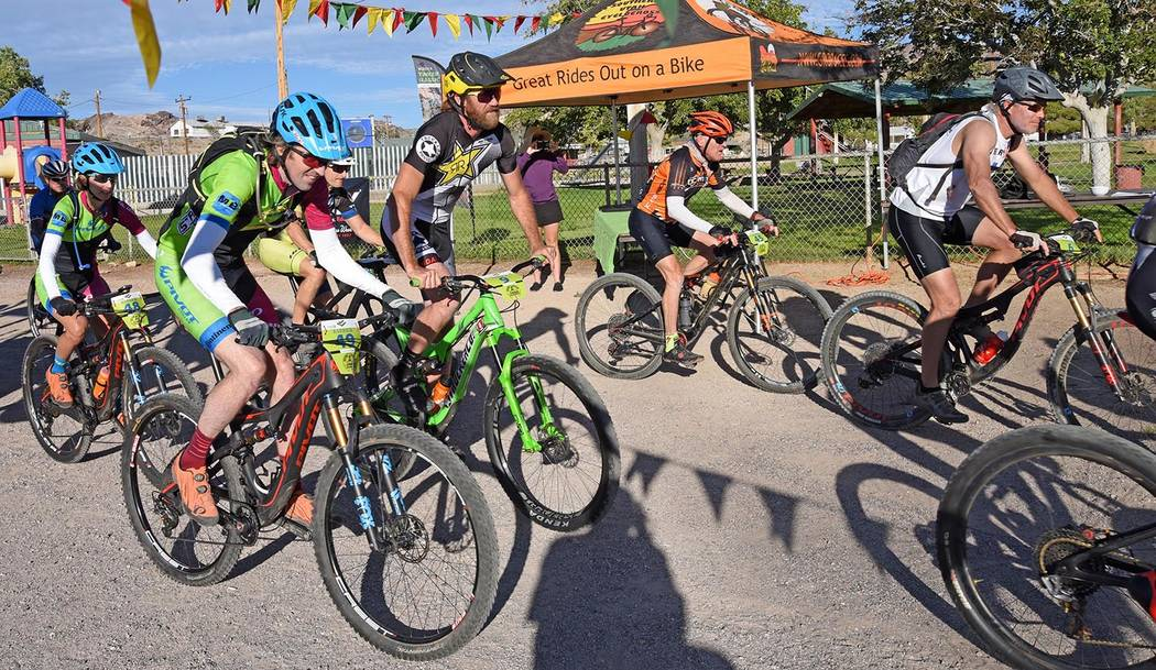 Richard Stephens/Special to the Pahrump Valley Times Competitors in the 100-kilometer event at the Barrick Tinker Classic start the race Saturday at Cottonwood Park in Beatty.