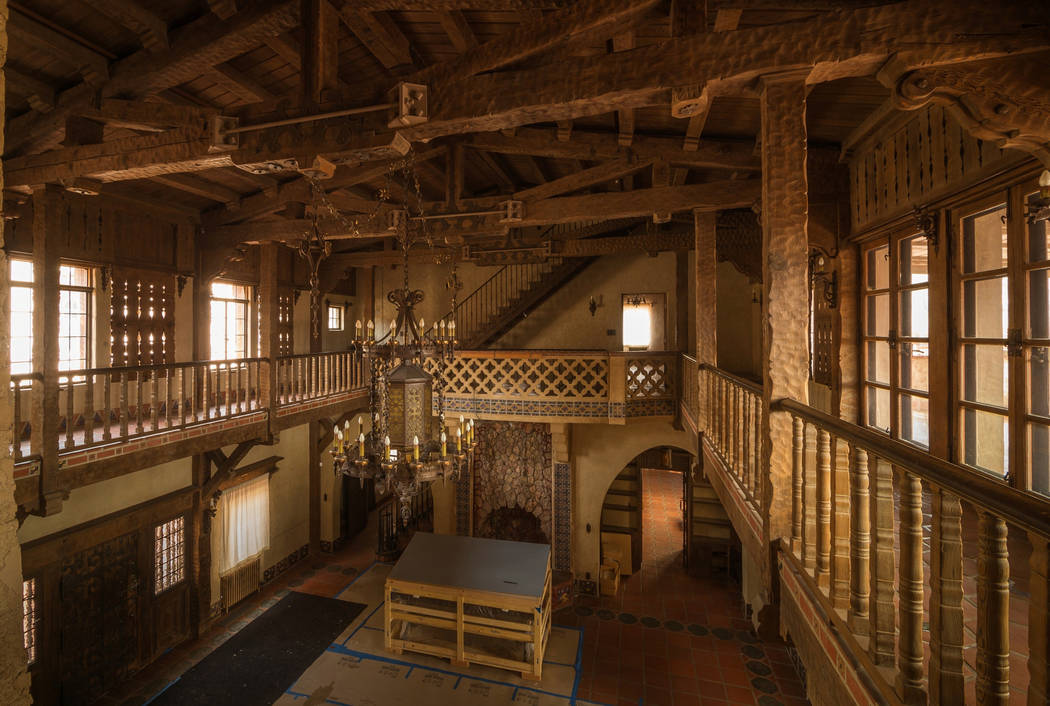 Kurt Moses/Special to the Pahrump Valley Times A look at the empty living hall of Scotty's Castle. Scotty's Castle has been closed since a massive flood on Oct. 18, 2015 caused extensive damag ...