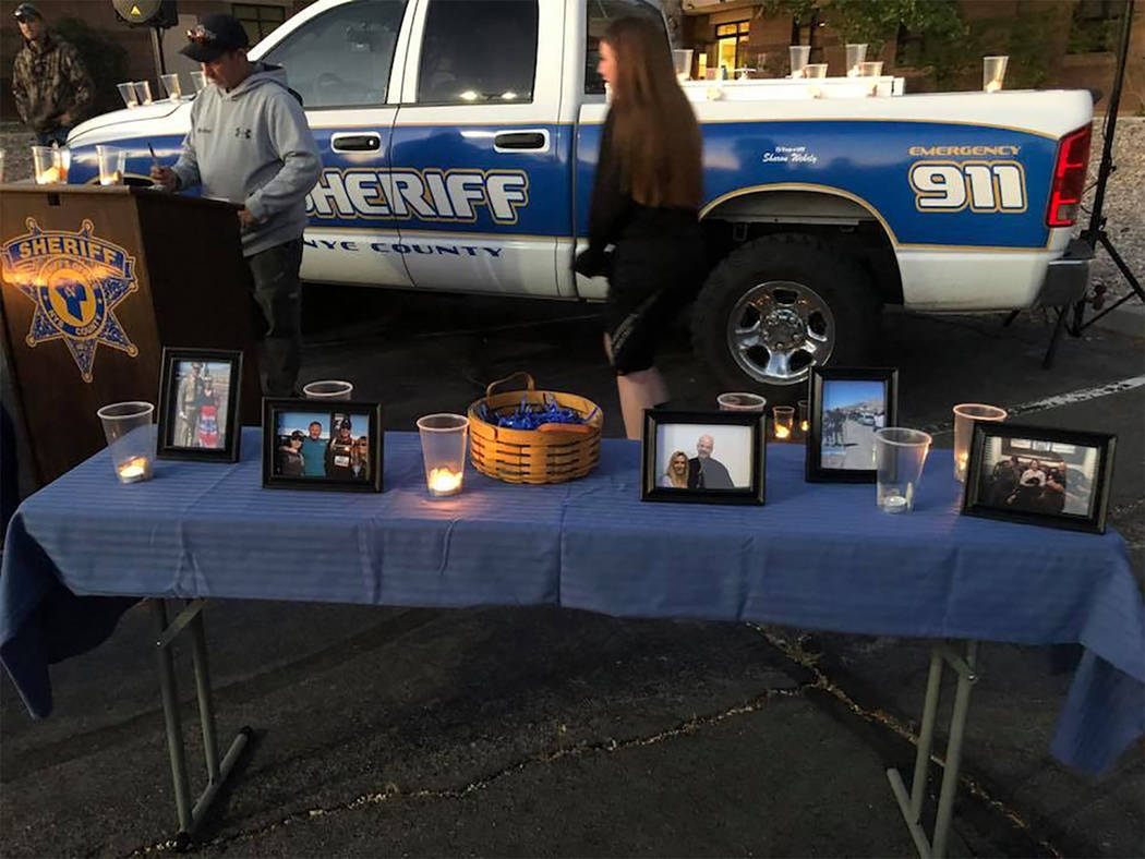 Special to the Pahrump Valley Times Deidra Gromis, daughter of Nye County Sheriff's Office Sgt. Duane Downing asked for and received scores of photos from well wishers for her father who was criti ...