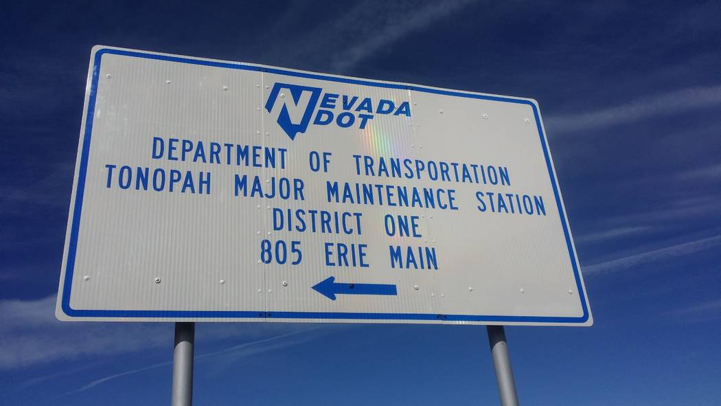 David Jacobs/Pahrump Valley Times Sign pointing to the Nevada Department of Transportation's major maintenance station in Tonopah. Information on major NDOT road projects is available at nevadadot ...