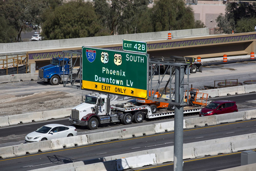 Richard Brian/Las Vegas Review-Journal Vehicles travel through the Spaghetti Bowl freeway interchange during NDOT's Project Neon freeway expansion in downtown Las Vegas on Tuesday, March 13, 2018.