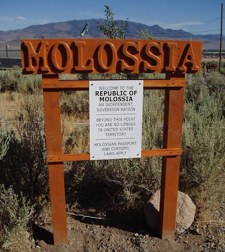 Special to the Pahrump Valley Times The Republic of Molossia's famed welcome sign is always a favorite photo op for visitors. Among the many attractions of the republic, include Molossia's Tiki Hu ...