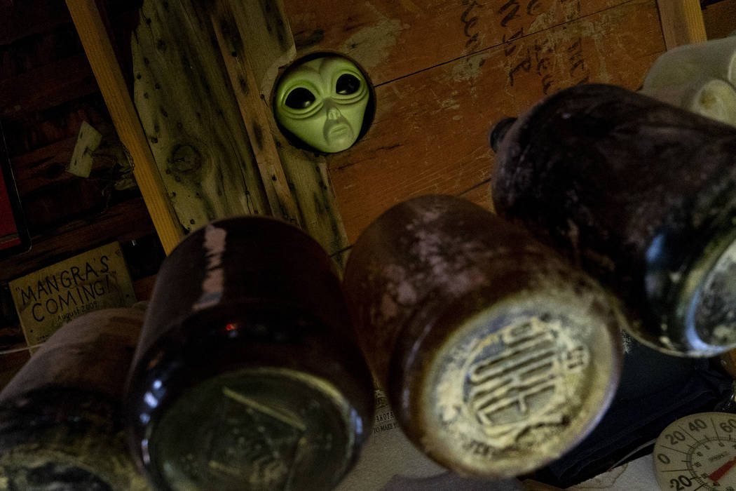 An alien head poking through the ceiling photographed in Walt Kremin's saloon at Gold Point, Tuesday, Sept. 4, 2018. After a decades long property dispute, the Bureau of Land Management has announ ...