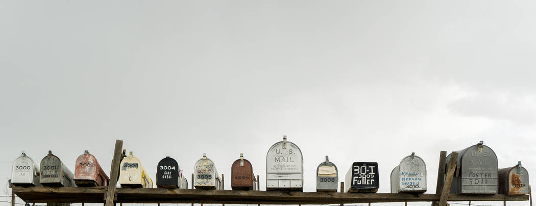 Mailboxes photographed in Gold Point, Tuesday, Sept. 4, 2018. After a decades long property dispute, the Bureau of Land Management has announced plans to transfer ownership of the town site to Esm ...