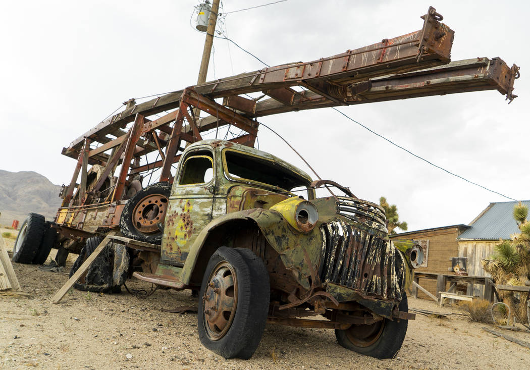 An abandoned truck photographed in Gold Point, Tuesday, Sept. 4, 2018. After a decades long property dispute, the Bureau of Land Management has announced plans to transfer ownership of the town si ...