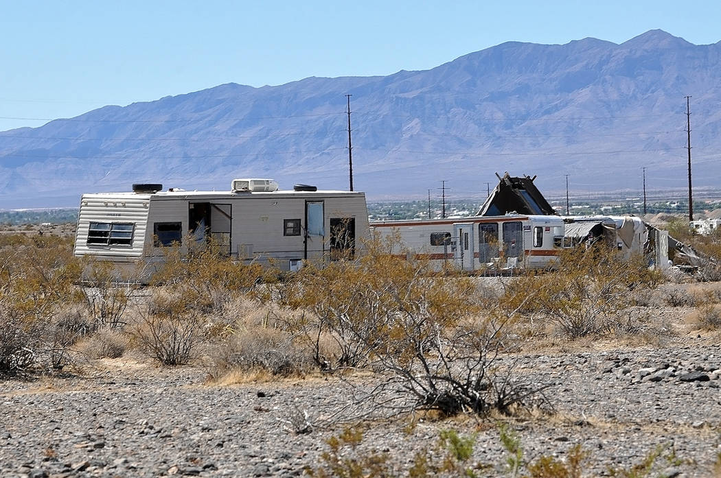 Horace Langford Jr./Pahrump Valley Times A homeless camp on East Basin Road as shown in a photo earlier this month. On Wednesday, Sept. 12, all those who had made their makeshift homes on the pro ...