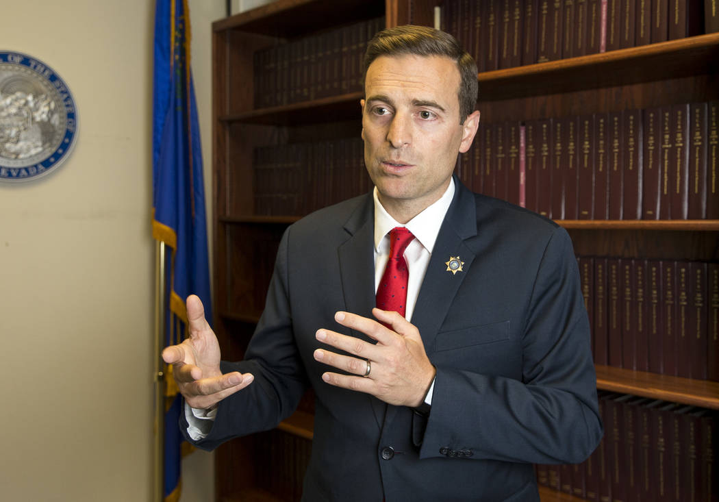 Richard Brian/Las Vegas Review-Journal Nevada Attorney General Adam Paul Laxalt during an interview at the Sawyer Building in Las Vegas on Thursday, June 28, 2018.