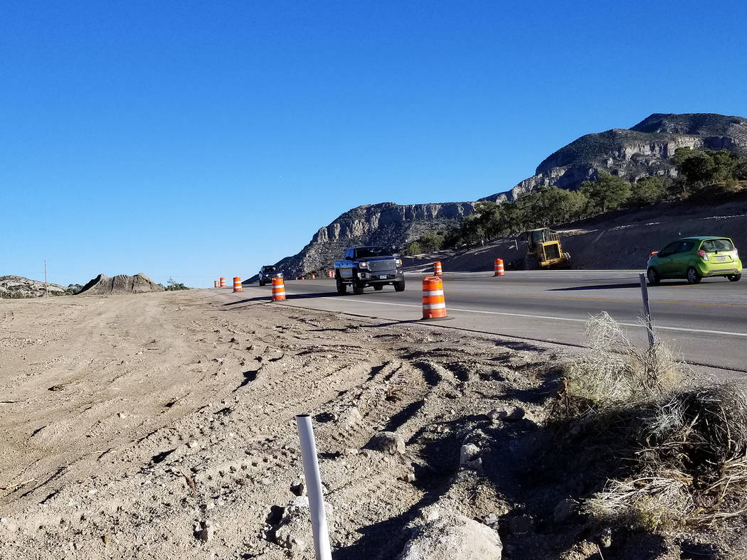 David Jacobs/Pahrump Valley Times Motorists could experience delays in the mountain pass, along Highway 160, starting Sept. 24, 2018 (Monday) and ending Oct. 15. Blasting will occur every other w ...