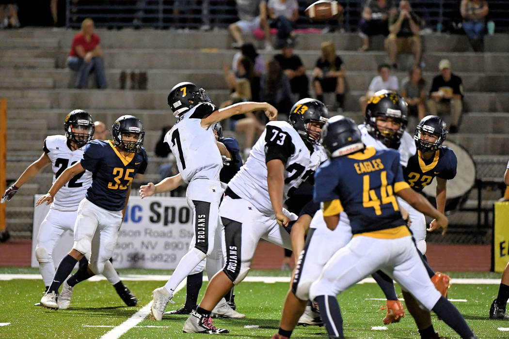 Peter Davis/Special to the Pahrump Valley Times Sophomore quarterback Dylan Wright uncorks a pass against Boulder City. Wright threw for 116 yards and a touchdown in a 32-28 Pahrump Valley loss.