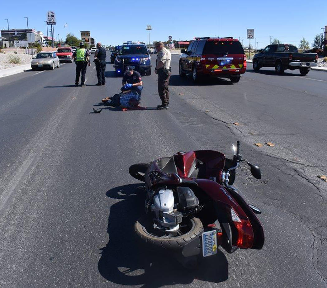 Special to the Pahrump Valley Times A motorcycle rider was transported to Desert View Hospital after crashing his bike along Highway 160, just south of Wilson Road on Friday afternoon September 14 ...