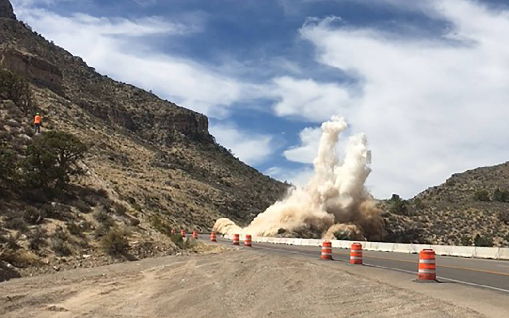 Nevada Department of Transportation/Special to the Pahrump Valley Times Crews commence blasting efforts along Highway 160, east of Mount Potosi Canyon Road on Sept. 24, 2018. Blasting is scheduled ...