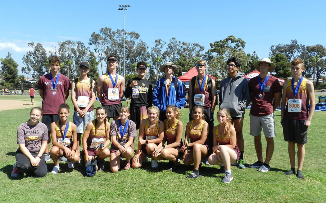 Tammi Odegard/Special to the Pahrump Valley Times The Pahrump Valley High School cross country teams -- including seven medalists -- after the Dana Hills Nike Invitational on Saturday in Dana Poin ...
