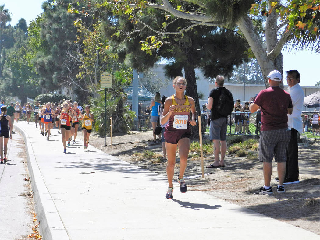 Tammi Odegard/Special to the Pahrump Valley Times Junior Diamond Sonerholm finished in eighth place in a time of 19 minutes, 54.1 seconds to lead Pahrump Valley's girls cross country team to an 11 ...