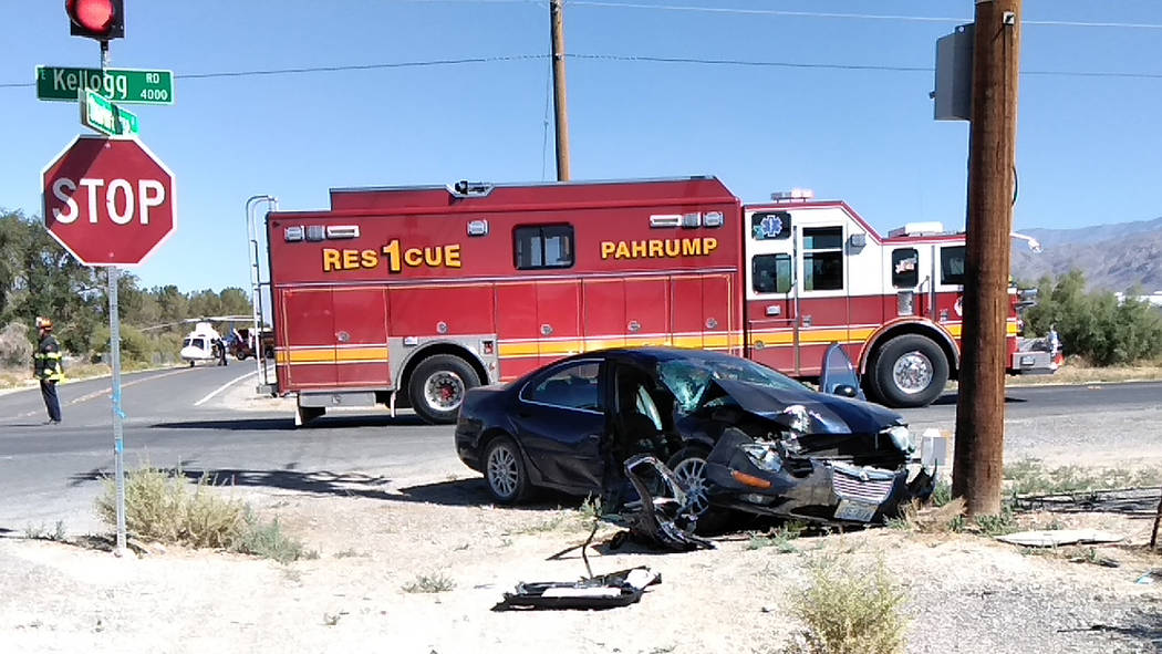 Selwyn Harris/Pahrump Valley Times Mercy Air crews transported one person to UMC Trauma in Las Vegas following a two vehicle crash at the intersection of Kellogg Road and Quarterhorse Avenue on Fr ...