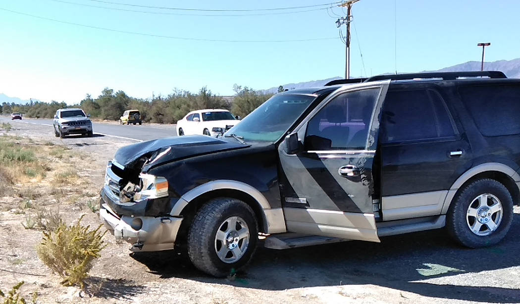 Selwyn Harris/Pahrump Valley Times Nye County Sheriff's Office Lt. David Boruchowitz was transported to Desert View after his unmarked sheriff's office SUV was struck by a late model sedan, which ...