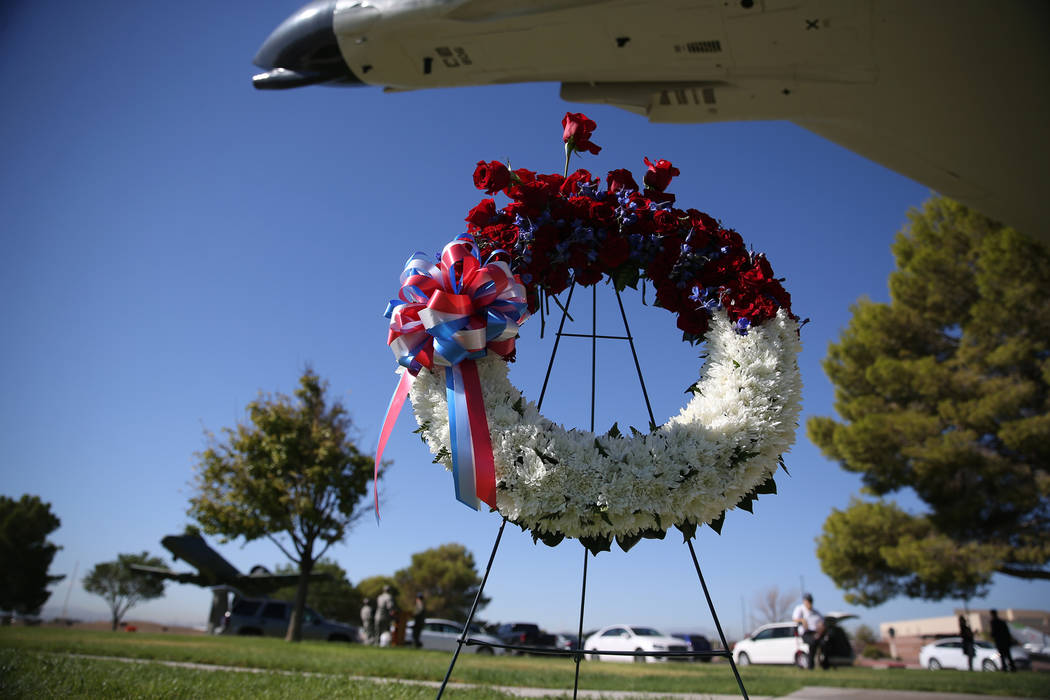 A ceremonial wreath during a POW/MIA Recognition Day ceremony at Freedom Park inside Nellis Air Force Base in Las Vegas, Friday, Sept. 21, 2018. Erik Verduzco Las Vegas Review-Journal @Erik_Verduzco