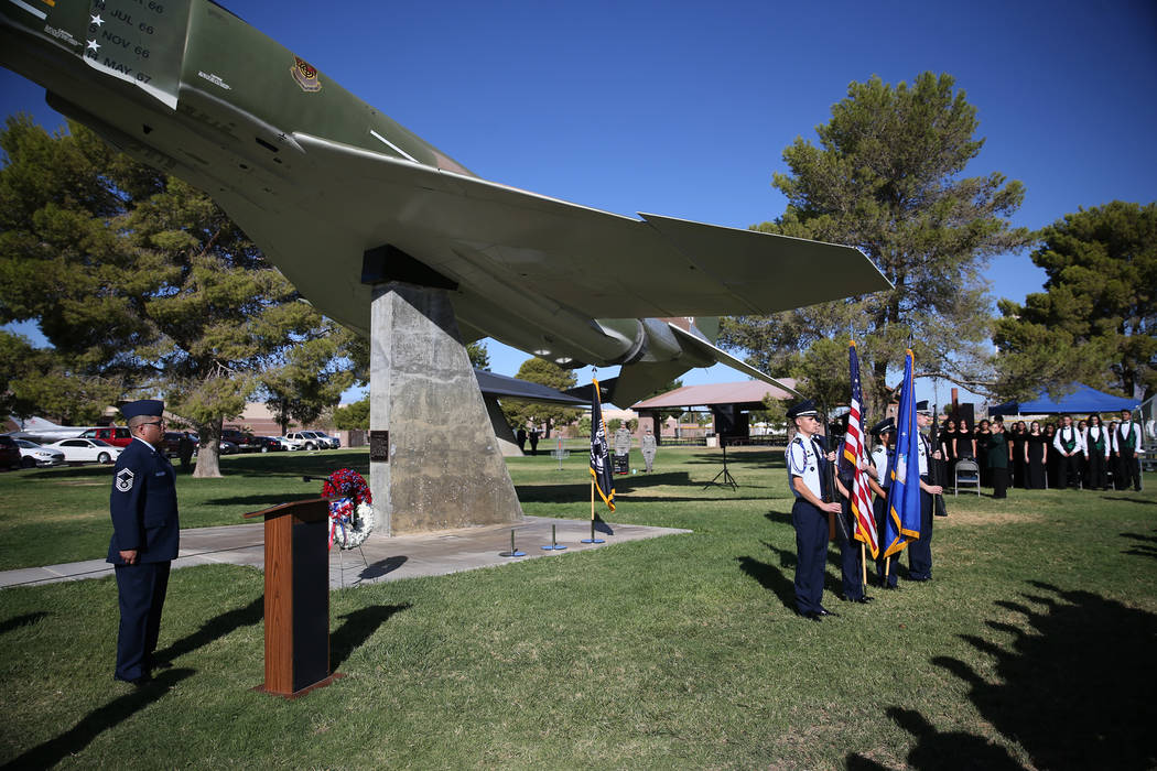 Rancho High School's JROTC color guard present the colors during a POW/MIA Recognition Day ceremony at Freedom Park inside Nellis Air Force Base in Las Vegas, Friday, Sept. 21, 2018. Erik Verduzco ...