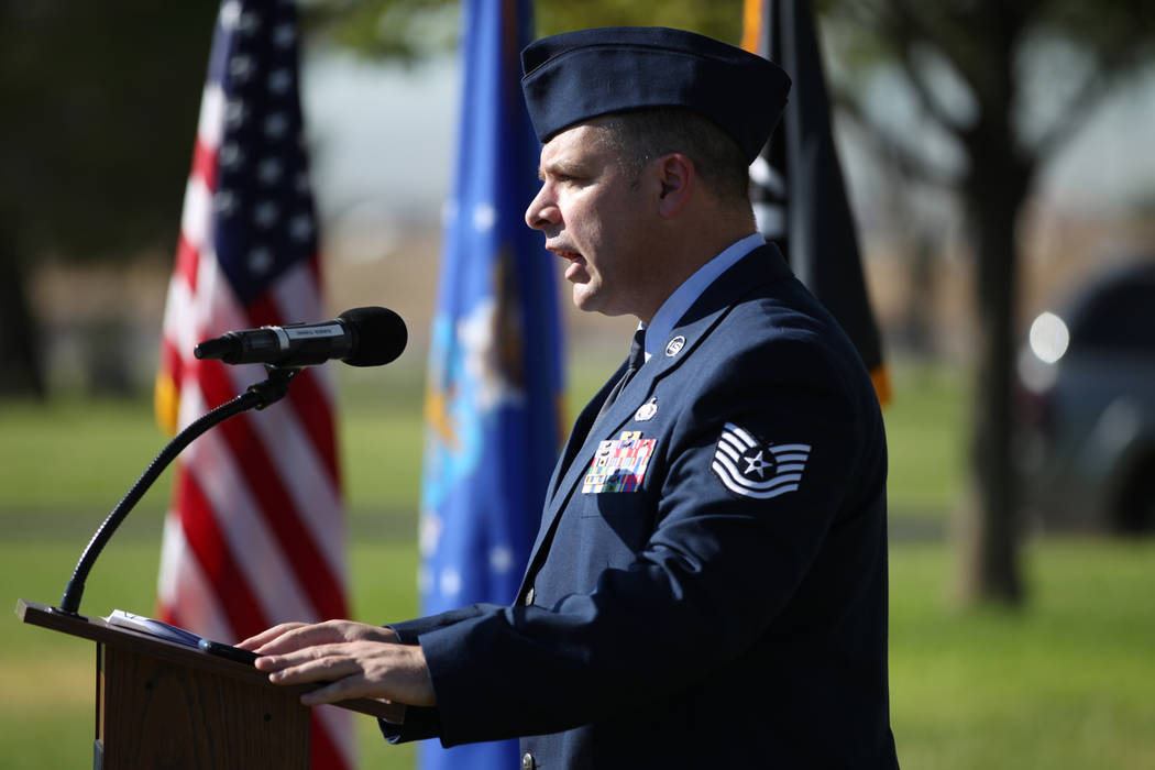 U.S. Air Force Col. Erick Gilbert speaks during a POW/MIA Recognition Day ceremony at Freedom Park inside Nellis Air Force Base in Las Vegas, Friday, Sept. 21, 2018. Erik Verduzco Las Vegas Review ...