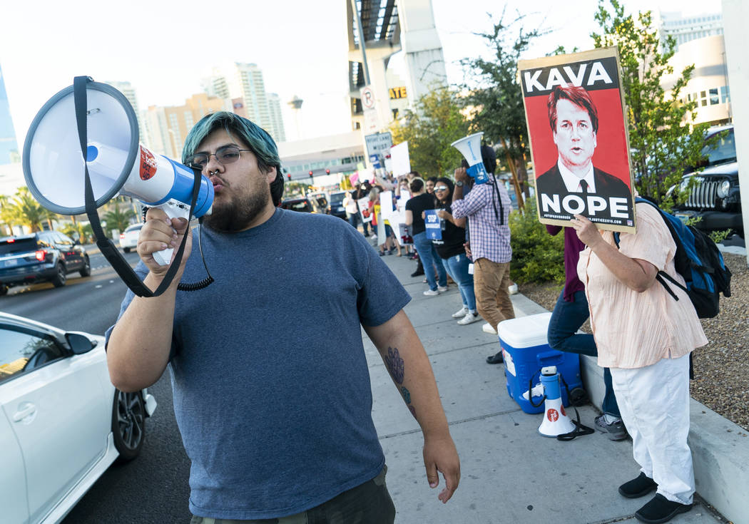 Manuel Ayala protests President Donald Trump's rally in front of the Las Vegas Convention Center in Las Vegas, Thursday, Sept. 20, 2018. (Marcus Villagran/Las Vegas Review-Journal) @marcusvillagran