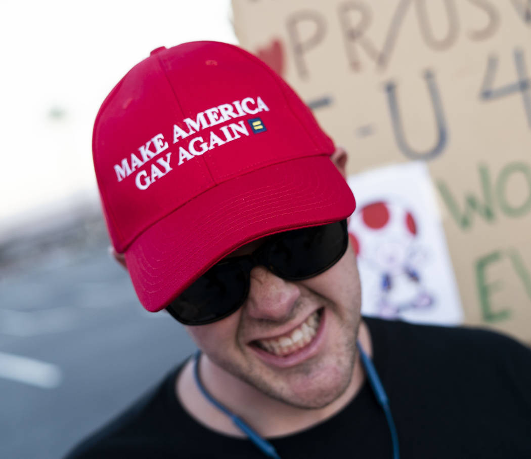 Jarrett Clark protests President Donald Trump's rally in front of the Las Vegas Convention Center in Las Vegas, Thursday, Sept. 20, 2018. (Marcus Villagran/Las Vegas Review-Journal) @marcusvillagran