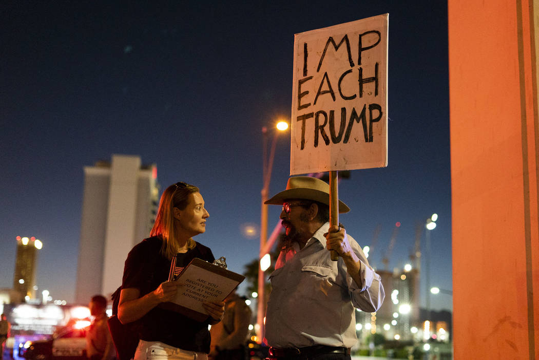 Las Vegas residents protest President Donald Trump's rally in front of the Las Vegas Convention Center in Las Vegas, Thursday, Sept. 20, 2018. (Marcus Villagran/Las Vegas Review-Journal) @marcusvi ...