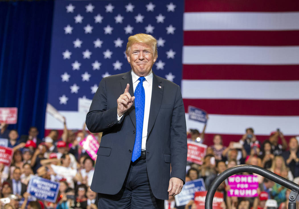 President Donald Trump arrives for a Make America Great Again rally at the Las Vegas Convention Center in Las Vegas on Thursday, Sept. 20, 2018. (Richard Brian/Las Vegas Review-Journal) @vegasphot ...