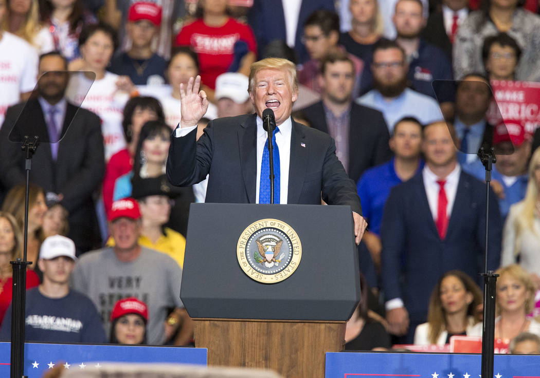 President Donald Trump speaks during a Make America Great Again rally at the Las Vegas Convention Center in Las Vegas on Thursday, Sept. 20, 2018. (Richard Brian/Las Vegas Review-Journal) @vegasph ...