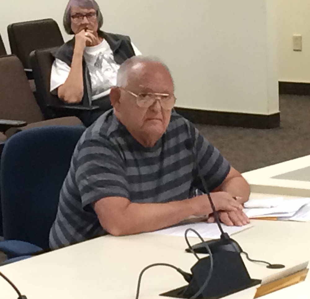 Robin Hebrock/Pahrump Valley Times Amargosa resident John Bosta is pictured addressing the Nye County Commission at its February 6 meeting, explaining that he does not believe the county is legall ...