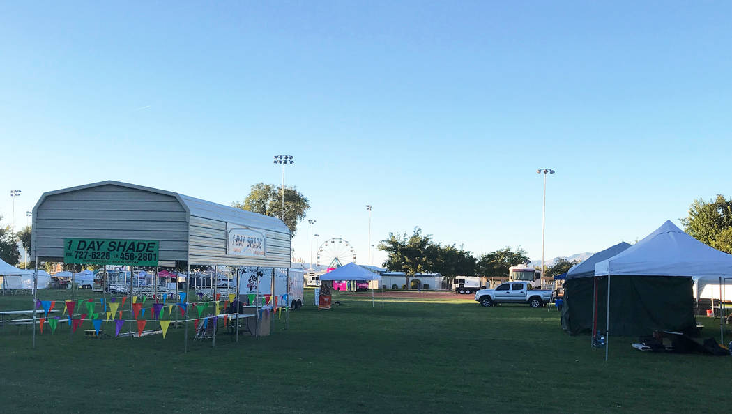 Jeffrey Meehan/Pahrump Valley Times Vendors ready for the start of the 2018 Fall Festival on Sept. 26, 2018. Festivities started on Thursday and continue through the weekend.